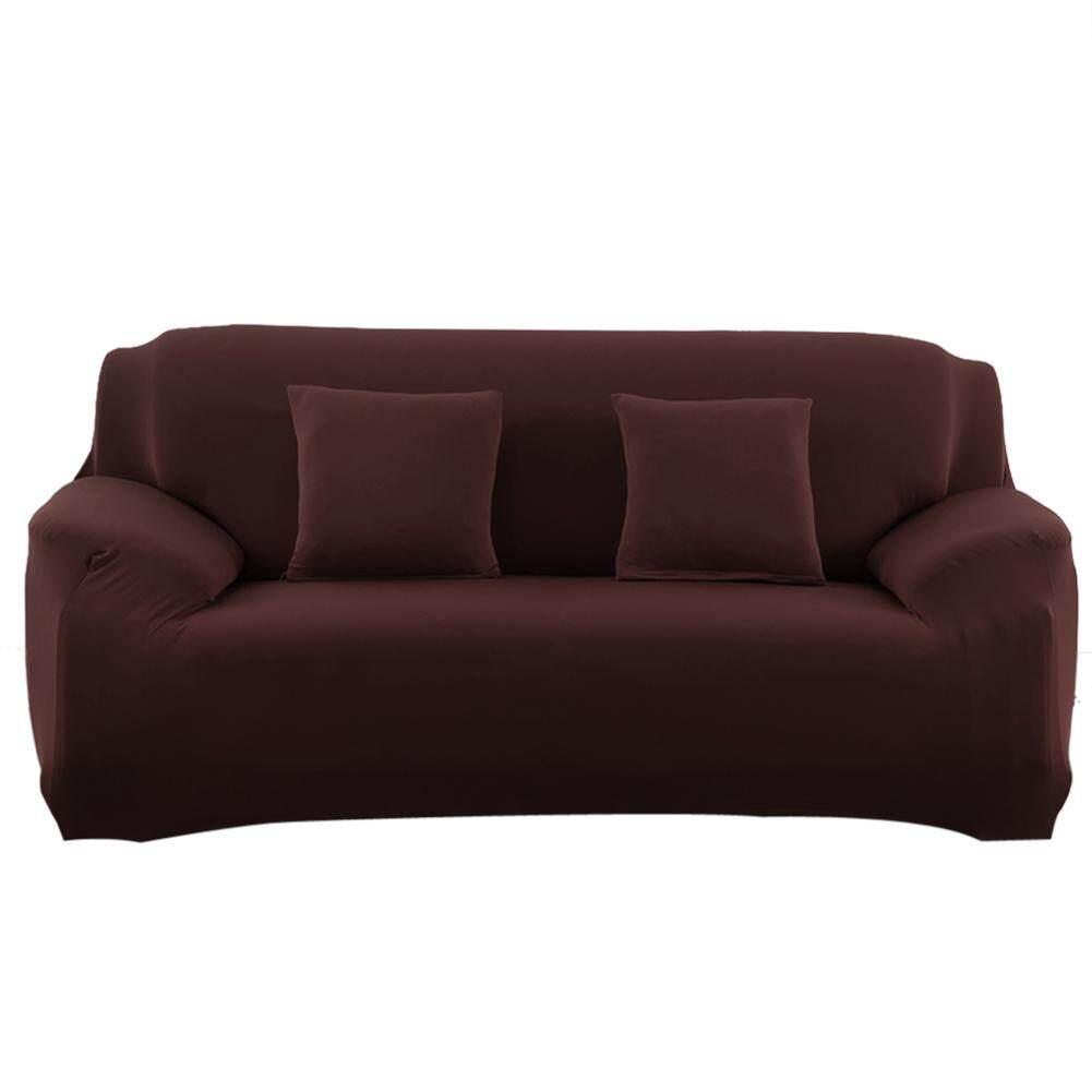 2-Seat Fashion Slipcover Stretchable Pure Color Sofa Cushion Washable Sofa Covers - intl