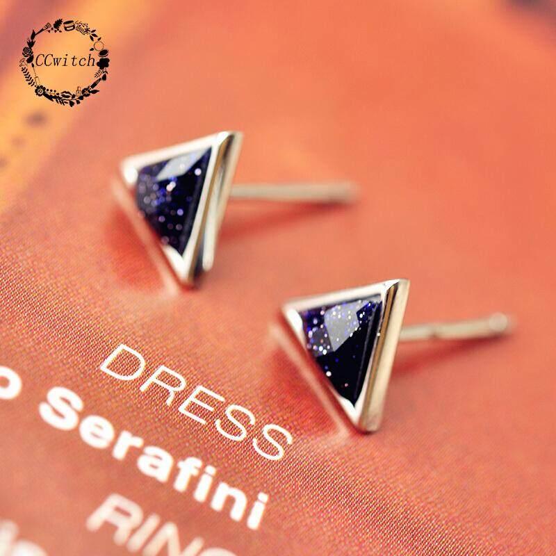 Flower Divination Amethyst Sand S925 Sterling Silver Earrings Women South Korea Simple Temperament Men And