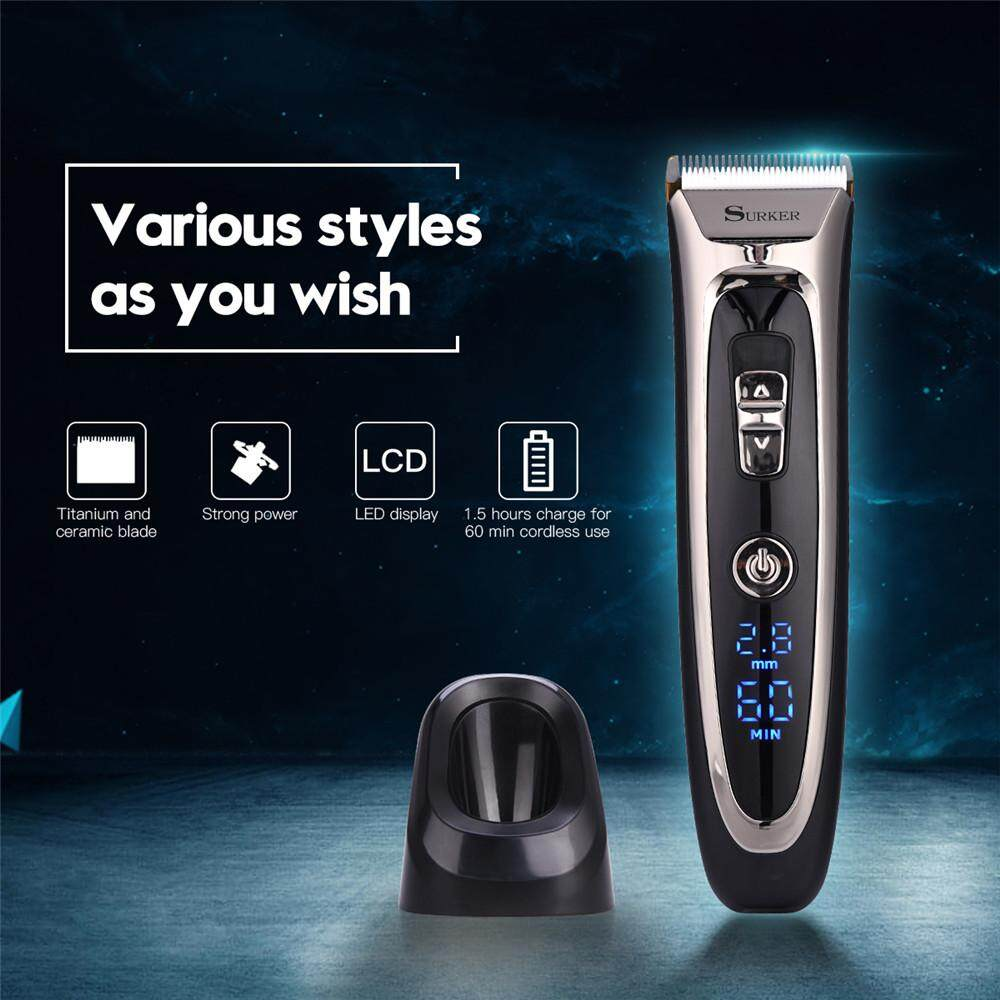Price Compare Professional Rechargeable Ceramic Blade Hair Clipper Men Electric Hair Trimmer Led Display Hair Cutting Machine Black Aercs291Hq Intl