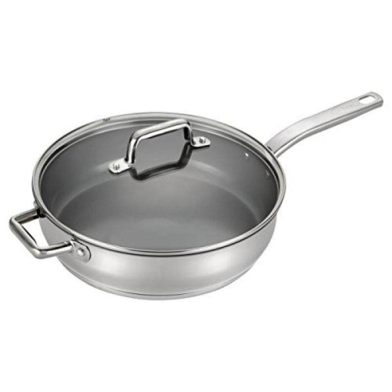 T-fal C71882 Precision Stainless Steel Nonstick Ceramic Coating PTFE PFOA and Cadmium Free Scratch Resistant Dishwasher Safe Oven Safe Jumbo Cooker Saute Pan Fry Pan Cookware, 5-Quart, Silver - intl Singapore