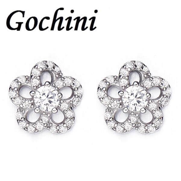 Ms. Gochini fashion plum earrings earrings earrings earrings female short paragraph Ding popular American Imitation Zircon Crystal personality fashion accessories jewelry gift glory(Shining white ) - intl