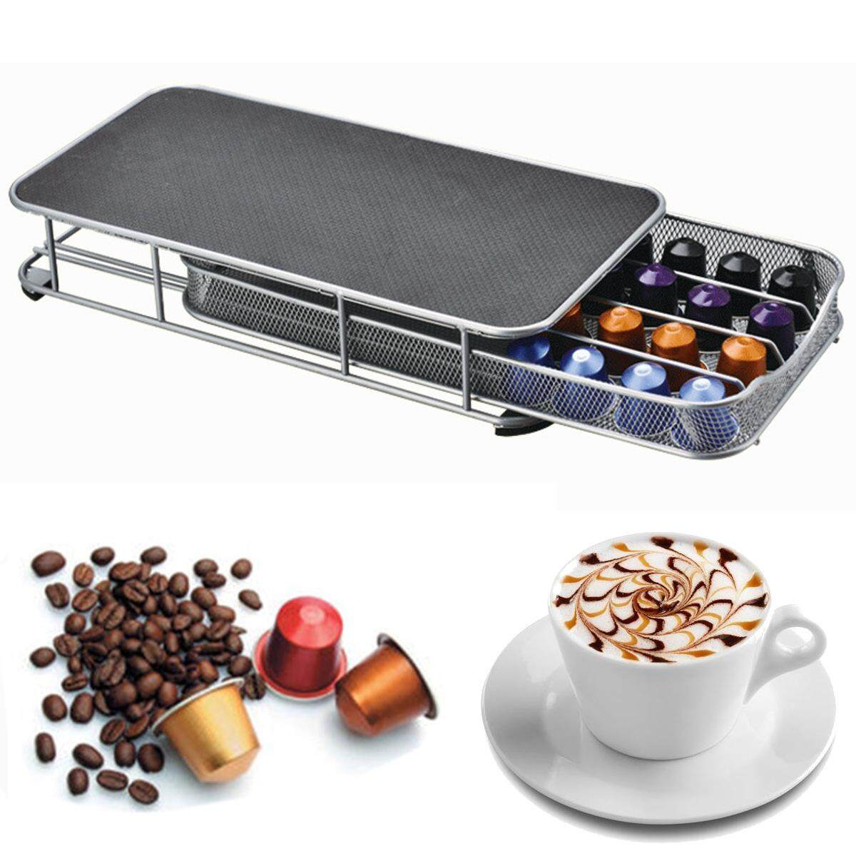 New Stainless Steel Anti Slip Stand 40 Nespresso Coffee Capsule Pod Holder Rack By Glimmer.