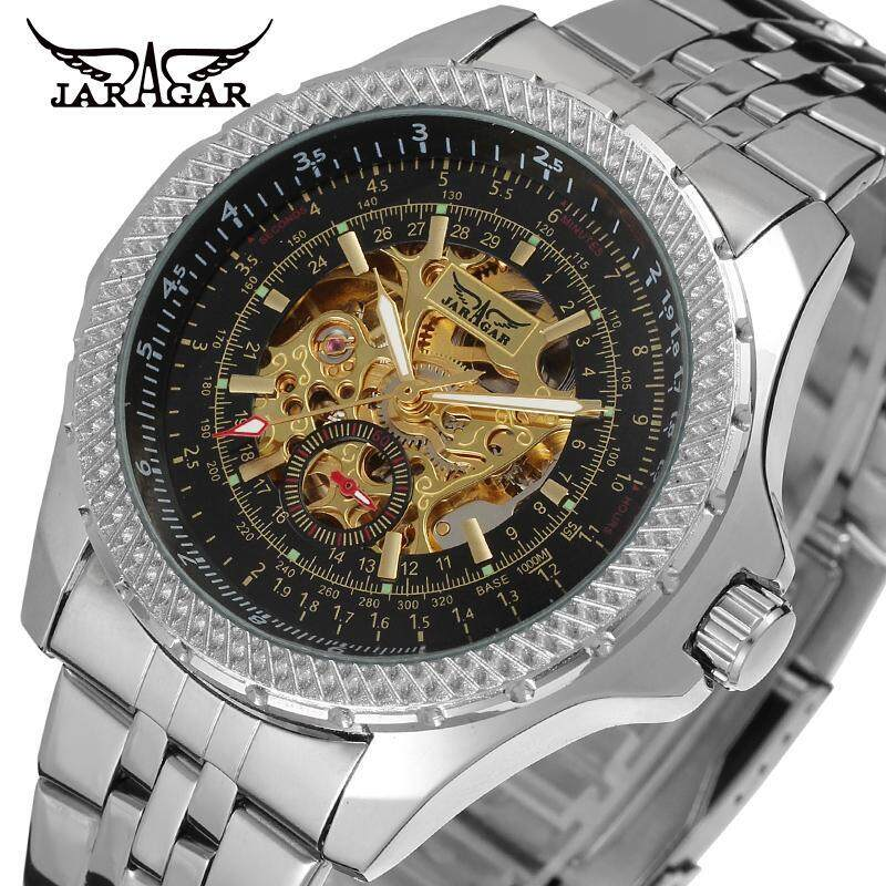 New Jaragar Relojes Watches Top Brand Mens Classic Stainless Steel Self Wind Skeleton Mechanical Watch Fashion Cross Wristwatch Malaysia