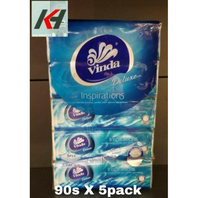 Vinda Deluxe Tissue Soft Pack Large 3ply    90s X 5packs   READY STOCK