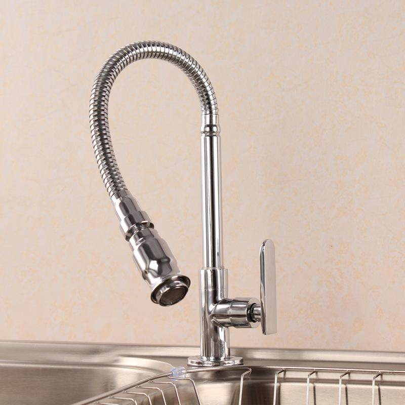 Panda Online Flexible Chrome Brass Pull Out Spring Kitchen Faucet 360 Swivel Spout Sink Tap
