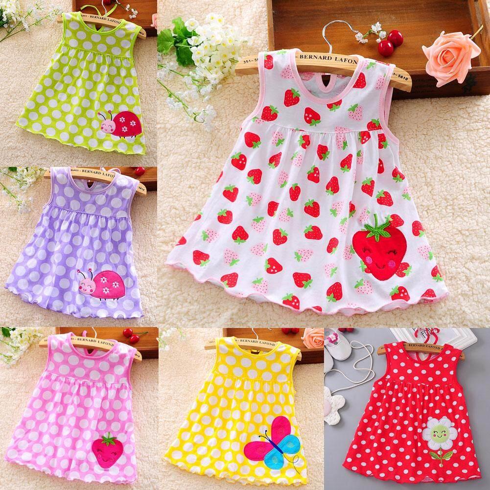 5 Pcs Kids Girls Soft Cotton Princess Dress Lovely Vest Printing Dress Random Color