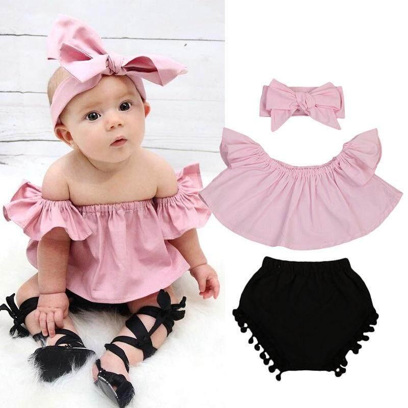 15d91c203d4e Newborn Baby Girl Clothes Set Off Shoulder Top T-Shirt+Shorts Pants 3PCS  Outfit