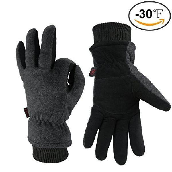 OZERO Work Gloves -30°F Coldproof Winter Ski Snow Glove - Deerskin Leather Palm & Polar Fleece Back with Insulated Cotton - Windproof Water-resistant Warm hands in Cold Weather for Women Men - Gray(M) - intl