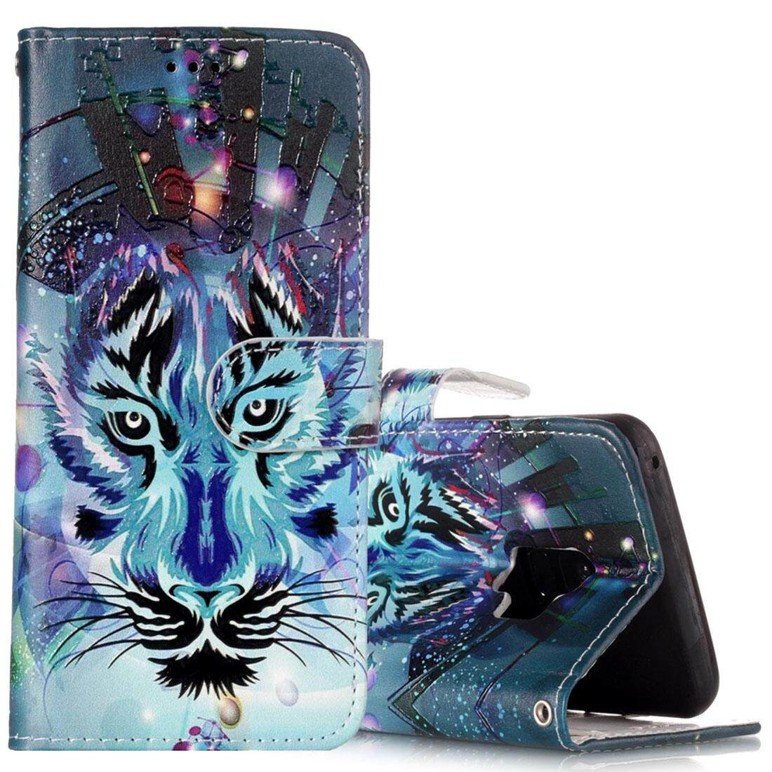 For Samsung Galaxy S9 Gloss Oil Embossed Wolf Pattern Horizontal Flip Leather Case with Holder and Card Slots and Wallet - intl
