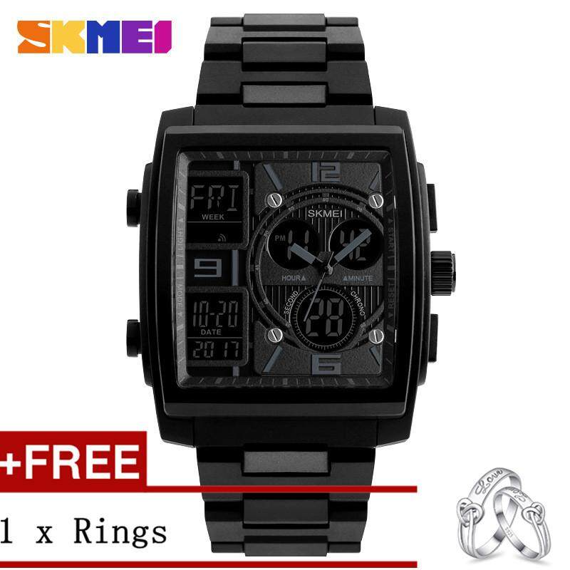 DOTEC SKMEI 1274 Men's Electronic Watch Multi-function Outdoor Sports Electronic Watches + Free a Couple Rings