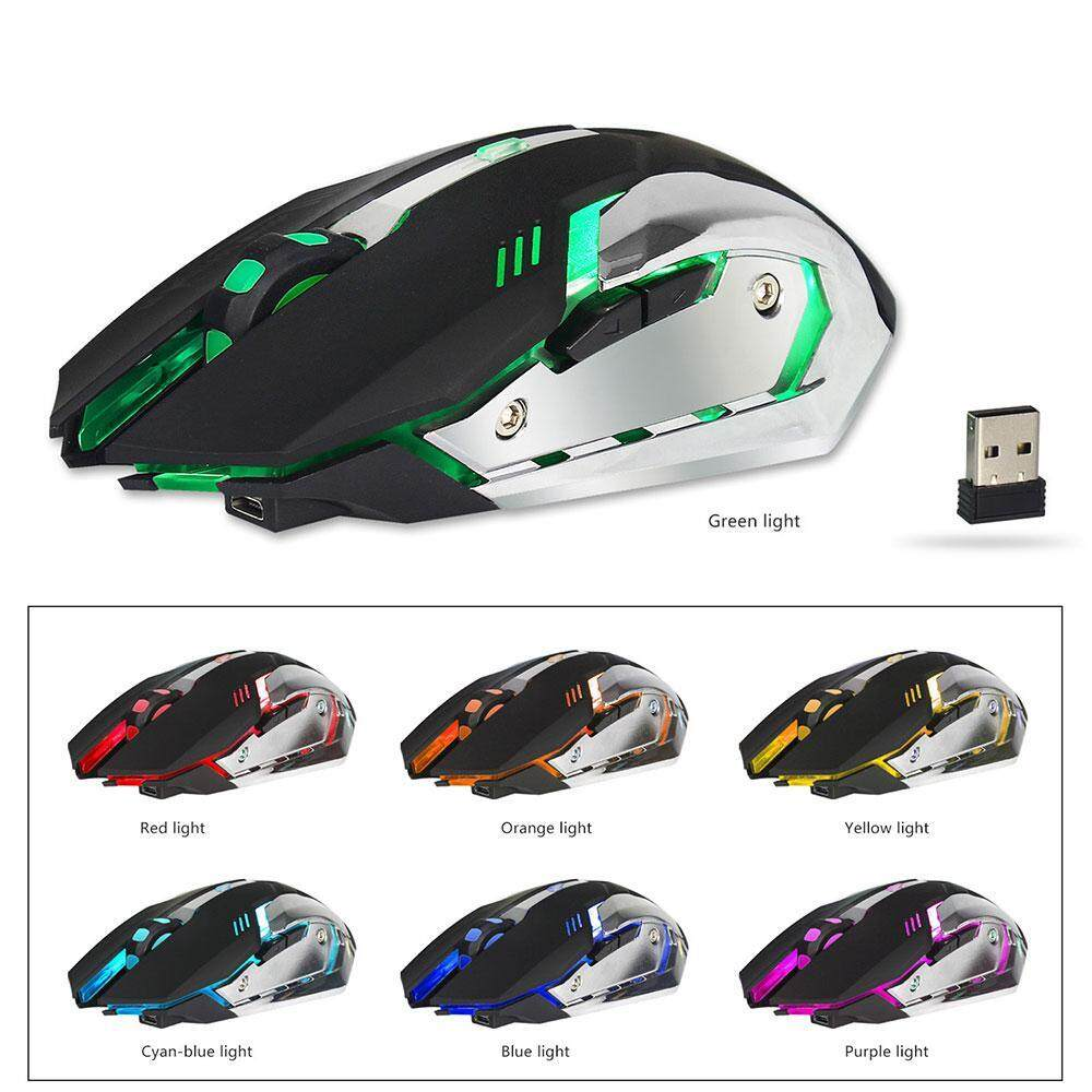 jiechuan 2.4G Gaming Mouse, 2400 DPI Wired Programmable Buttons Optical Mice with Colorful Breathing LED Backlight for Gamer PC, Laptop, Notebook, Computer, Macbook