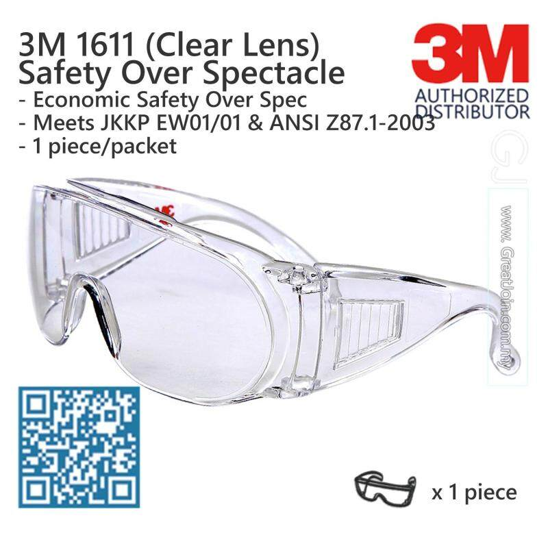 3M 1611 Safety Evewear/ Safety Glasses/ Over Spectacle/ Visitor Specs [Clear/ Transparent Lens]