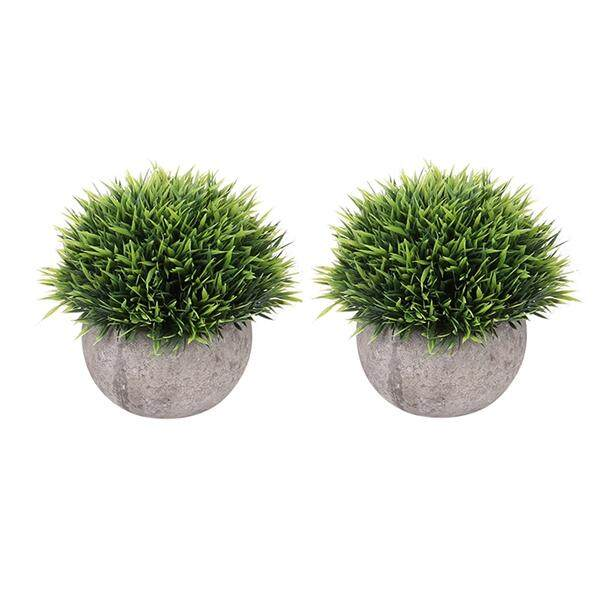 2pcs Mini Plastic Fake Faux Green Grass Simulation Artificial Plants with Pots for Home Decor