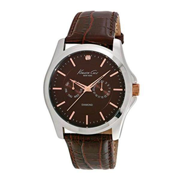 Kenneth Cole 10022313 Mens Genuine Diamond Silver Watch with Brown Croco Leather Strap - intl