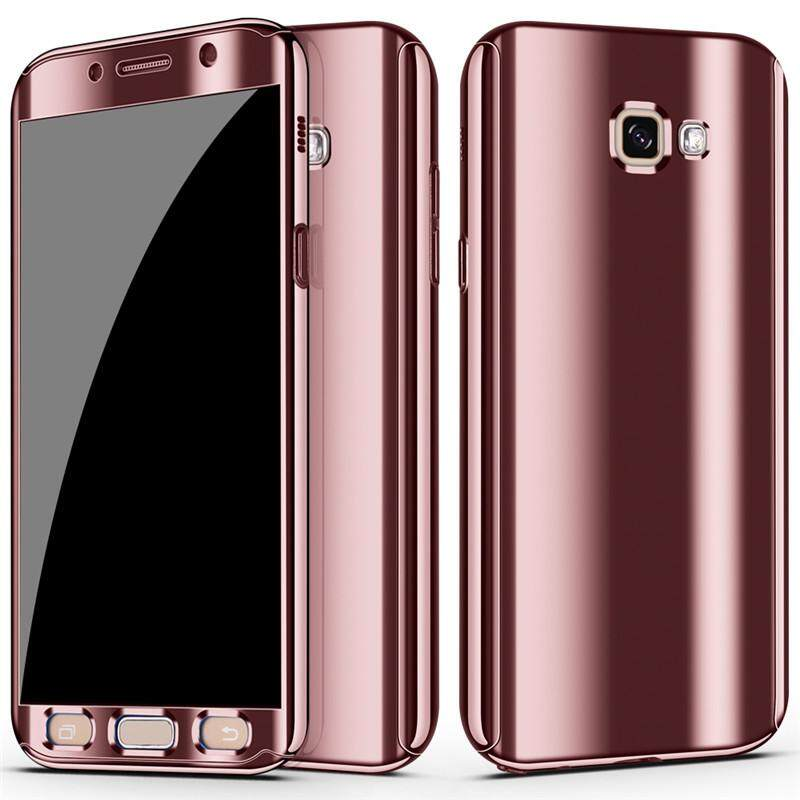 Galaxy A7 2017 Casing Sepuhan Mewah Cermin 360 Penutup Perlindungan Penuh untuk Samsung Galaxy A7 2017 Sarung Telepon Genggam + Pelindung Layar Film