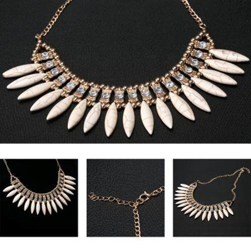 TRENDY ELEGANT SIMPLE FASHION STATEMENT CHARM CHOKERS NECKLACE FOR WOMEN (BEIGE)