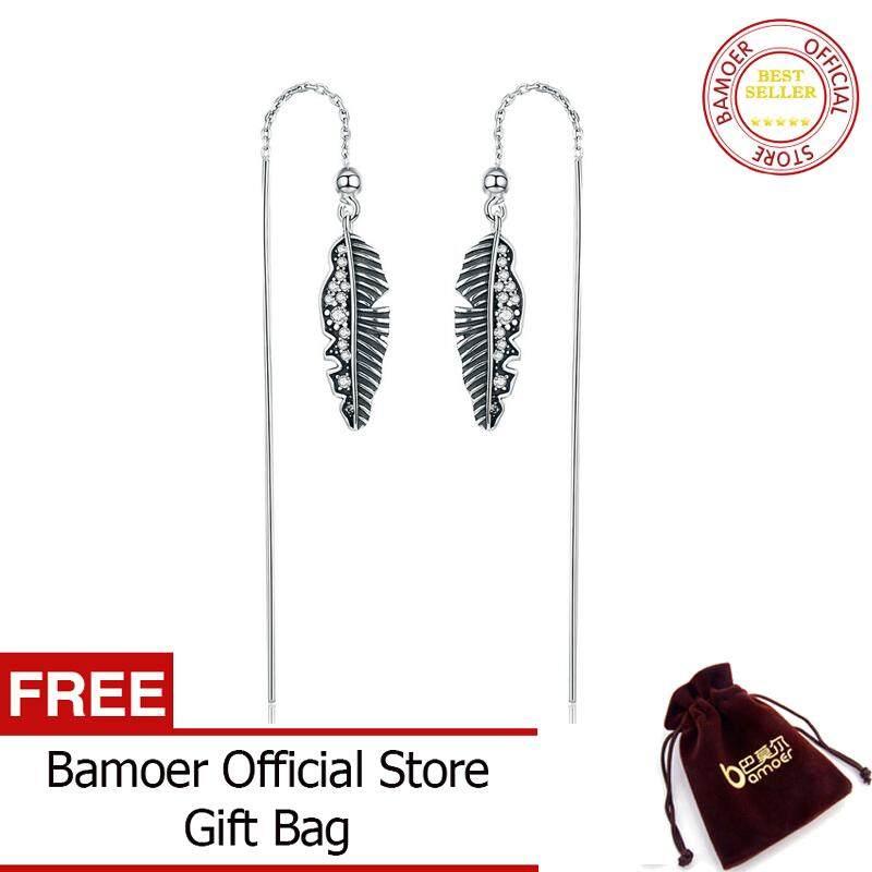 Bamoer 100% 925 Sterling Perak Antik Punk Feather Telapak Daun Panjang Jatuh Anting-Anting