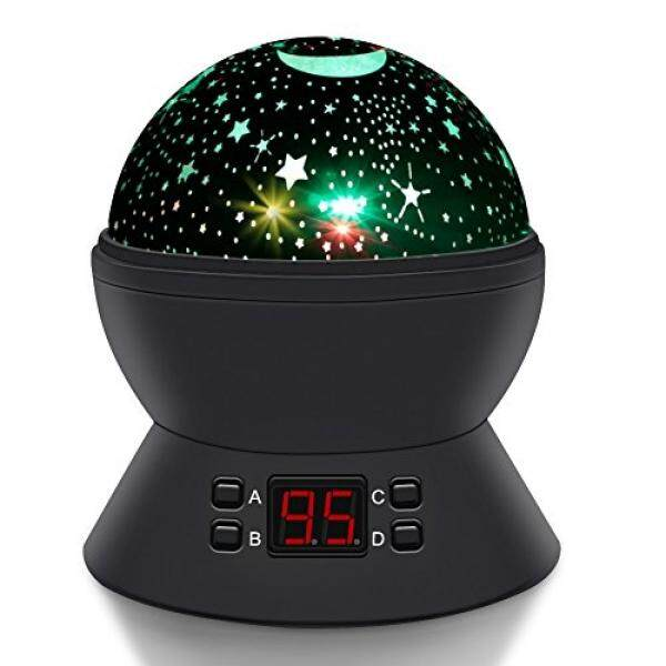 Round Shape Rotating Star Projector,Relaxing Automatical Timer Sky Night Light, Star Planetarium Space for Toddlers Baby Kids Gift to Create the Ideal Sleep Environment (Black) - intl