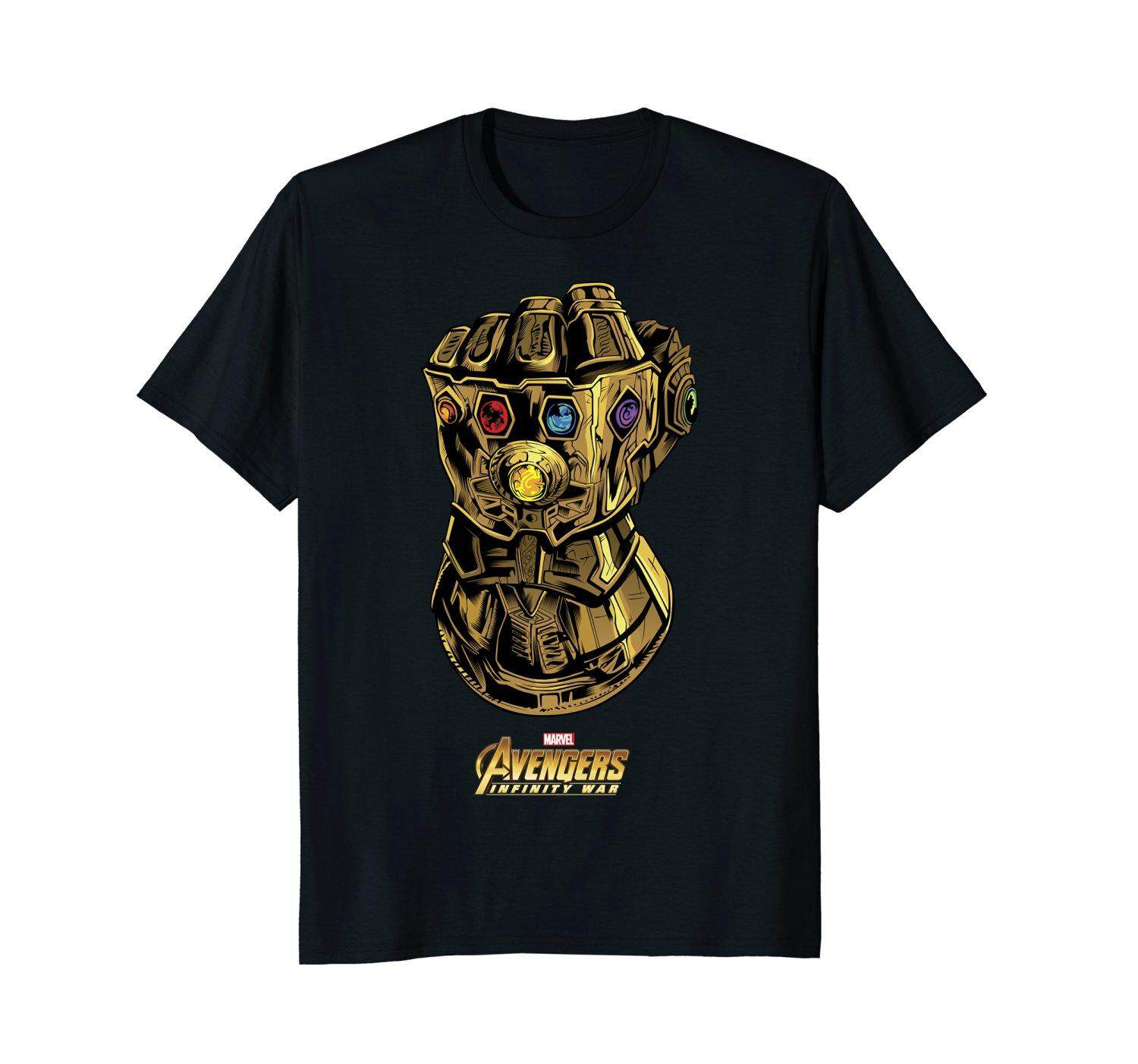 Marvel Avengers Infinity War Gauntlet Gems Graphic Fashion O Neck Men Tshirt Tee Black