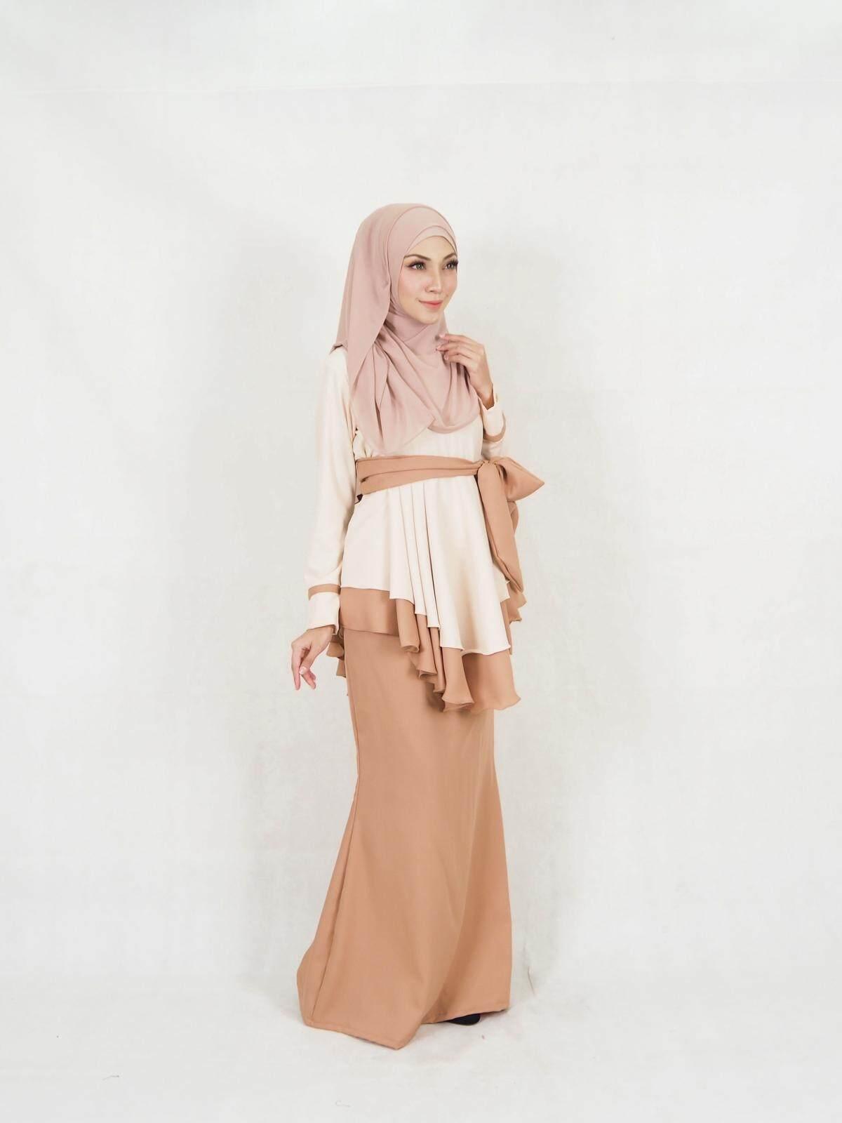 Faria Fara Ribbon Baju Kurung (PLUS SIZE) / Muslim Women Fari Fara Baju Kurung / Muslimah Fashion Modern Ribbon Baju Kurung (XXL-5XL) / Moden Baju Raya Peplum Baju Kurung 2021