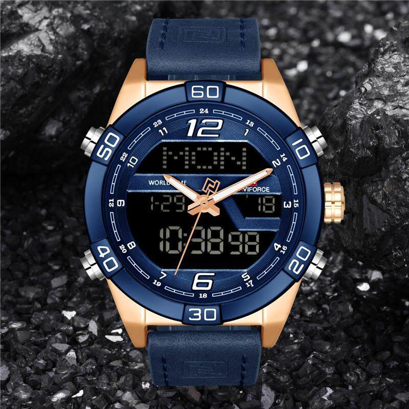 Naviforce Men Watch Digital Led Man Watches Fashion Business Sport Casual Army Military Stainless Steel Strap Wrist Quartz Male Clock Gift Wristwatches Multifunction Date Alarm Chronograph Week BackLight 9128 Malaysia