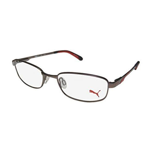 New Puma 15409 Mens/Womens Sports Activity Tight Fit Full-rim Flexible Hinges Eyeglasses/Glasses (49-17-135, Brown / Red)