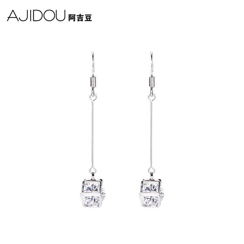 AJIDOU Aji beans long section pendant earrings fashion Cube diamond earrings accessories women's jewelry simple pendant