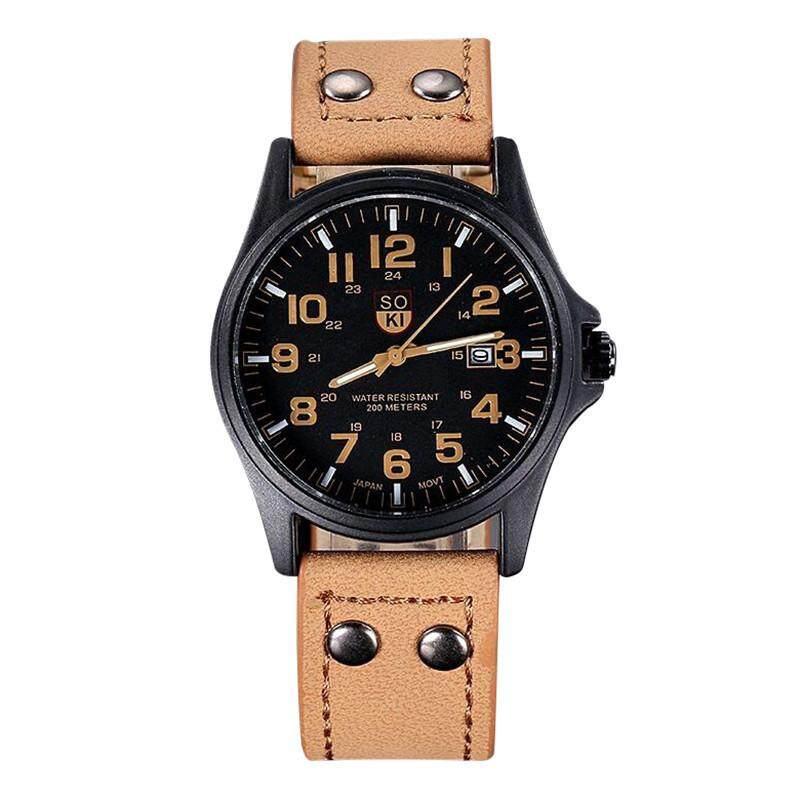 SOKI Men Casual Fashion Watches Calendar Waterproof Pointers Leather Strap Watch - intl