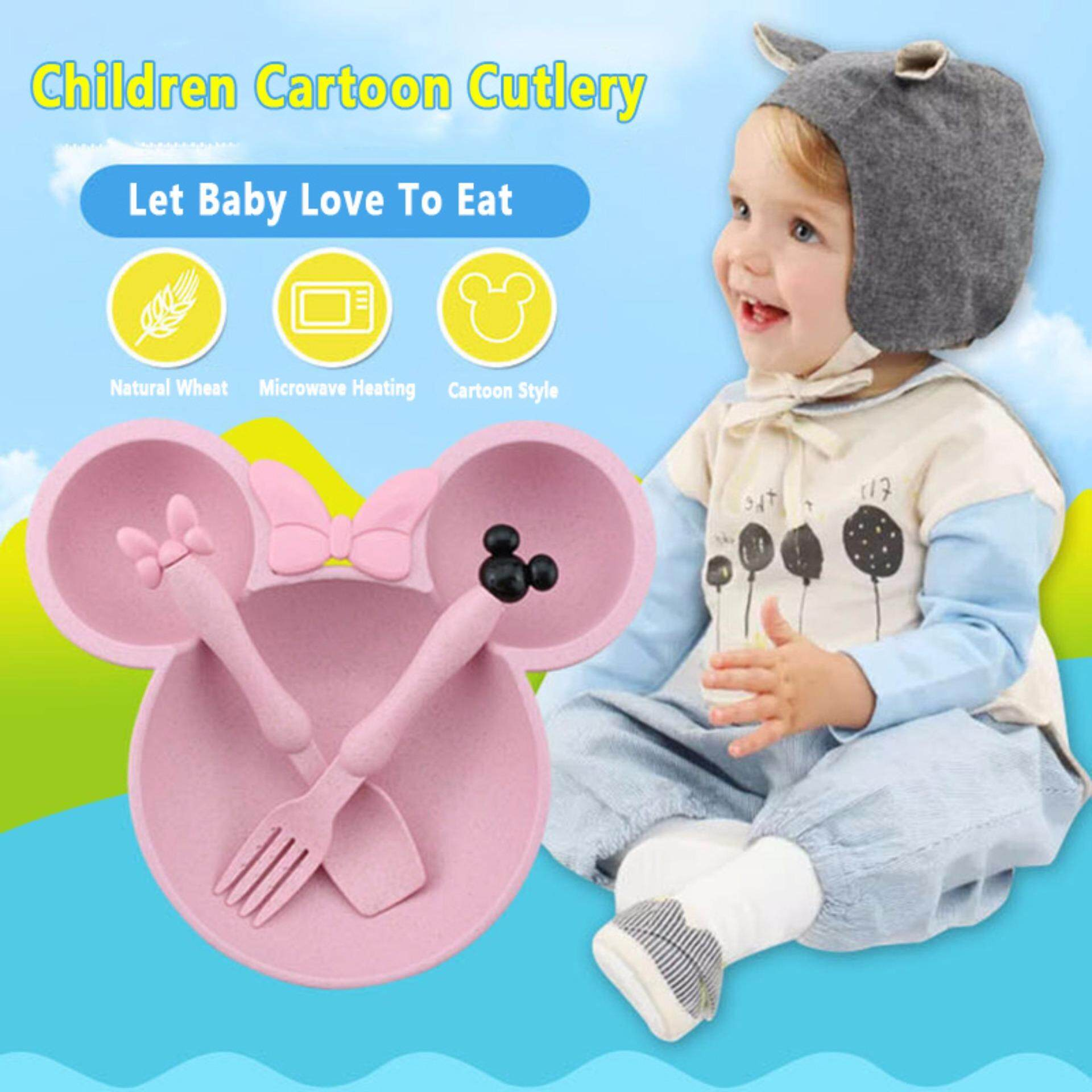 1 Set Random Color Children's Cutlery Set Cartoon Sub-grid Dishes Baby Tableware Sauce Dish