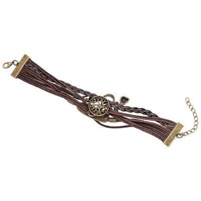 Fashionable Tree Letter Figure 8 Note Decoration Unisex Multilayer Weave Alloy Rope Bracelet (BROWN)