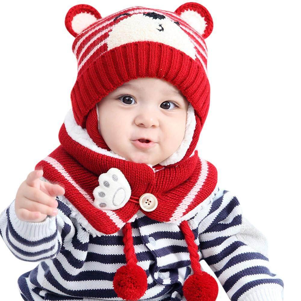 Bayi Anak Laki-laki Perempuan Rambut Bola Penyumbat Telinga Topi Anak Cetak Rajut Hats + ...