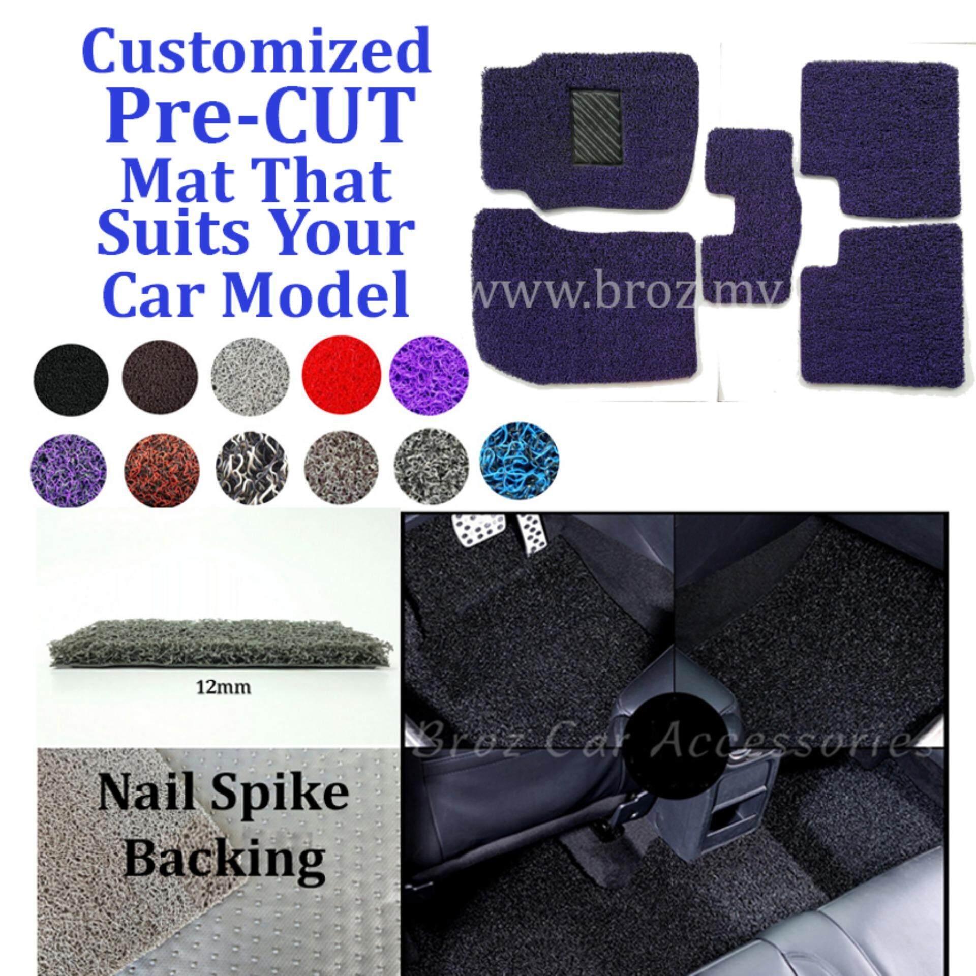Broz Mercedes E-200 12MM Customized PRE CUT PVC Coil Floor Mat with Driver Rubber Pad Anti Slip Carpet Nail Spike Backing - Purple Black