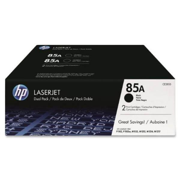 HP 85A (CE285A) Kartrid Warna Hitam, 2 Cartridge Tinta untuk HP LaserJet Pro M1212nf, M1217nfw, P1102w-Intl