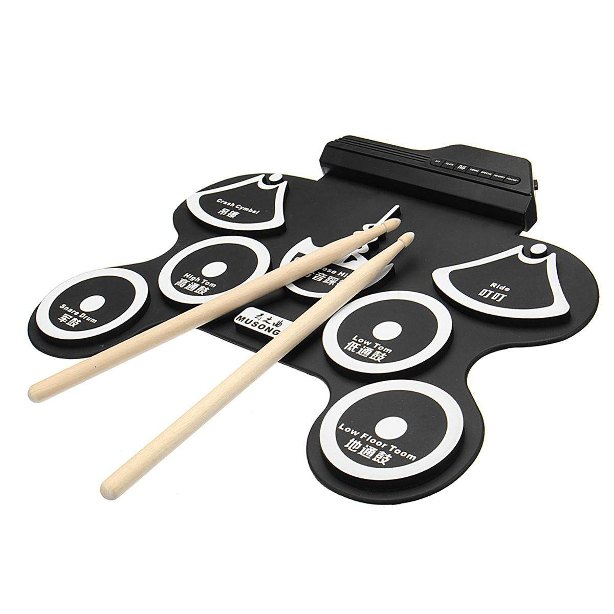 7 Pad Portable Electric Drum Record Stick Pad Silicon Electronic Roll Up Kit Set Black