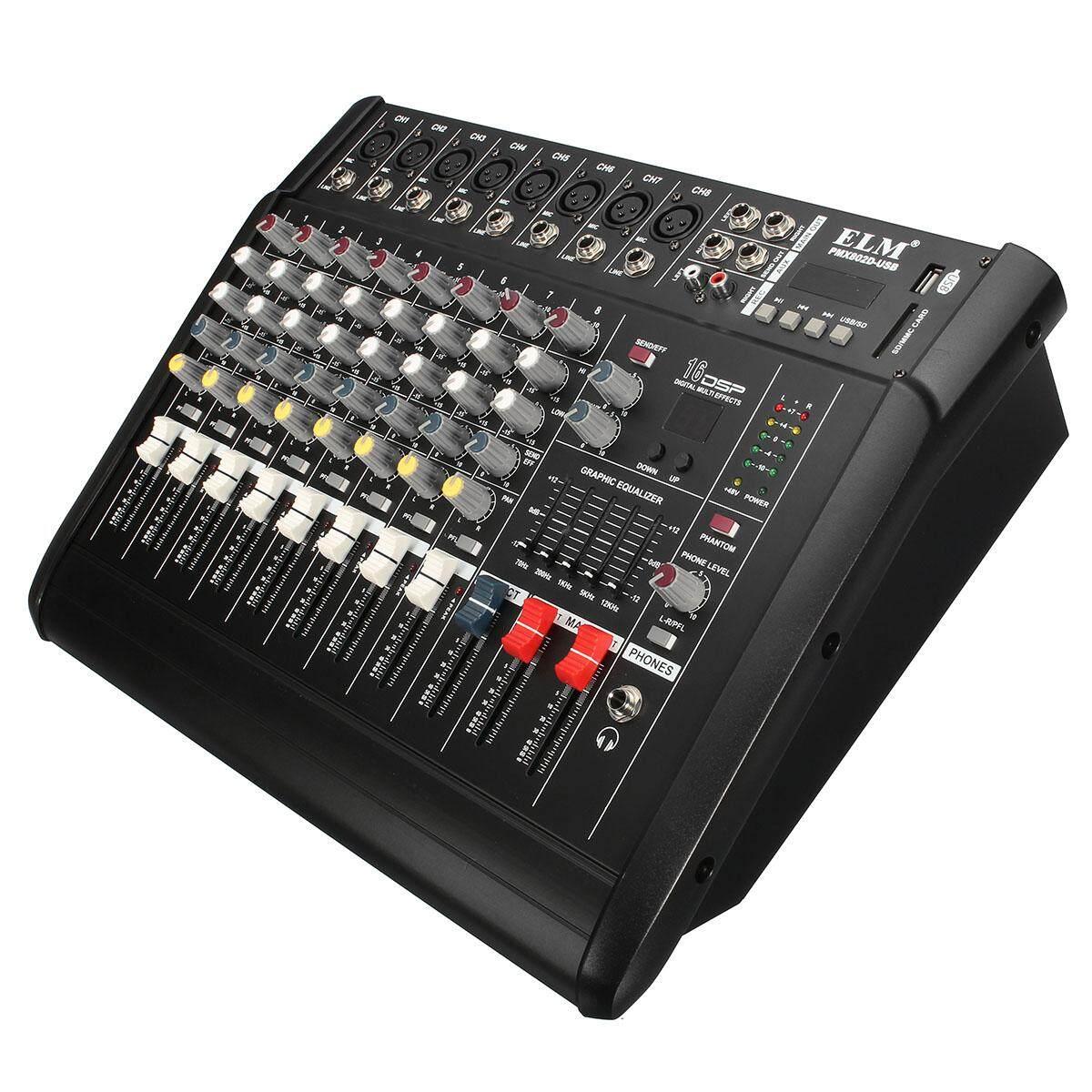 Claite El M PMX802D-USB 300 W 8 Channel DJ Karaoke KTV Profesional Mixing Console Mixer Amplifier-Internasional