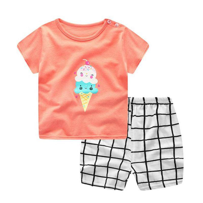 Ishowmall Summer Baby Girls Boys Short Sleeve T-shirt+Shorts Pants Outfit Clothes Set