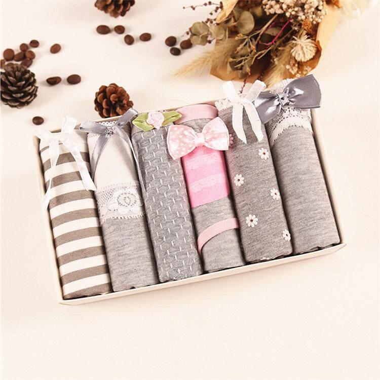 Bolster Store Set of 6 Pieces Women Ladies Underwear Panties Briefs Cotton Low Waist Gift Set with Box