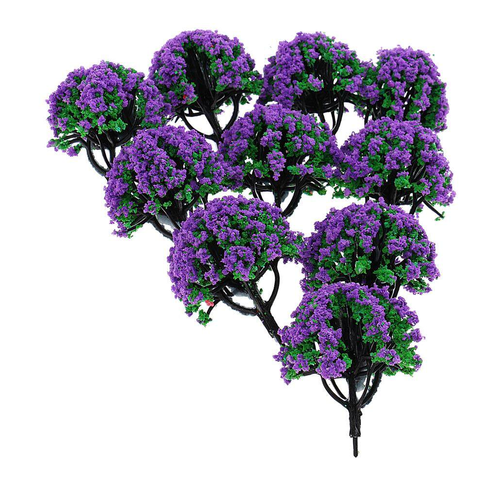 Bolehdeals 10 Pieces Railroad Scenery Landscape Model Trees With Flowers Purple.