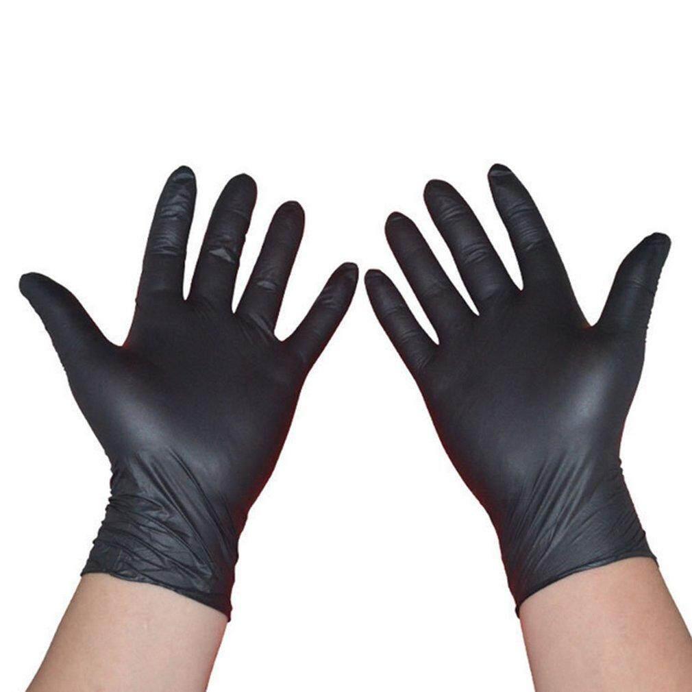 Catwalk 100 Pcs/set Cleaning Sekali Pakai Sarung Tangan Mekanik Hitam Nitril Anti Sarung Tangan Statis (Ukuran: L)