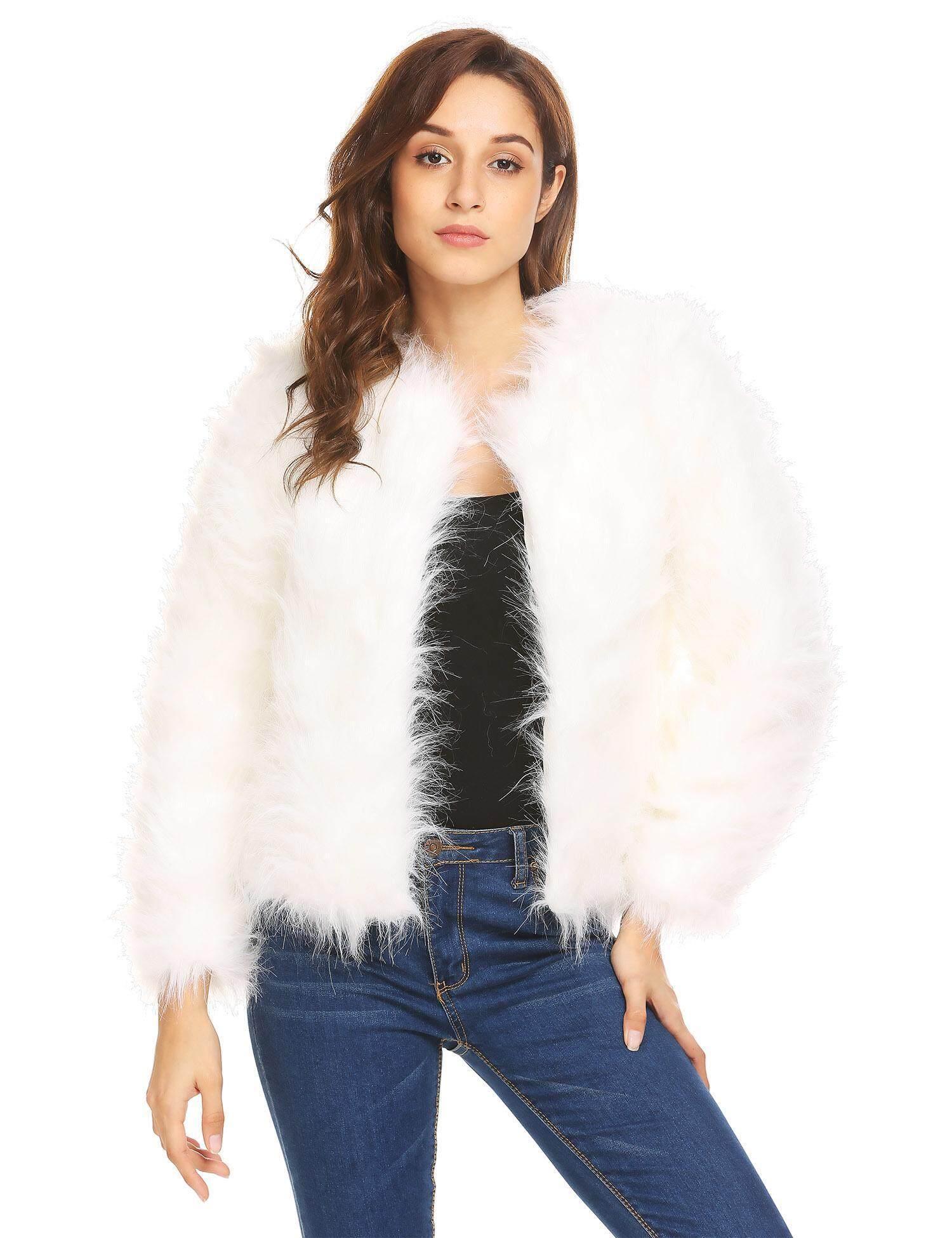 49437d1c6e6 Cyber Clearance Sale Fashion Women Winter Warm Faux Fur O-Neck Long Sleeve  Short Coat
