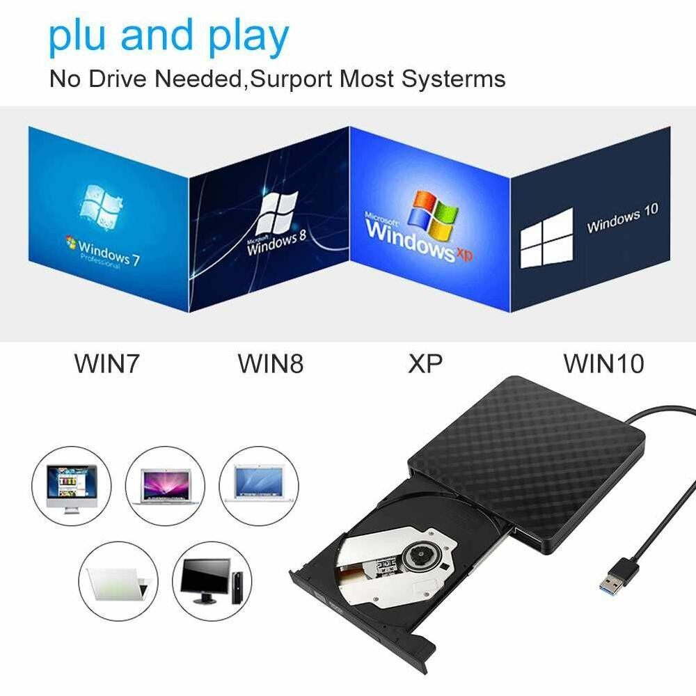 Ultra Thin High Speed External DVD RW Drive USB 3.0 CD Writer Drive Burner - intl