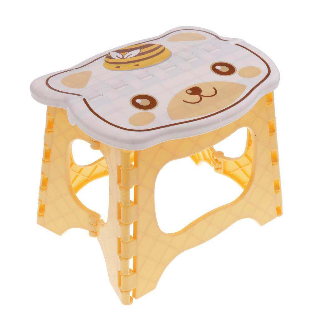 MagiDeal Kids Children Chair Step Stool Chair Portable Bench Folding Chair Yellow - intl