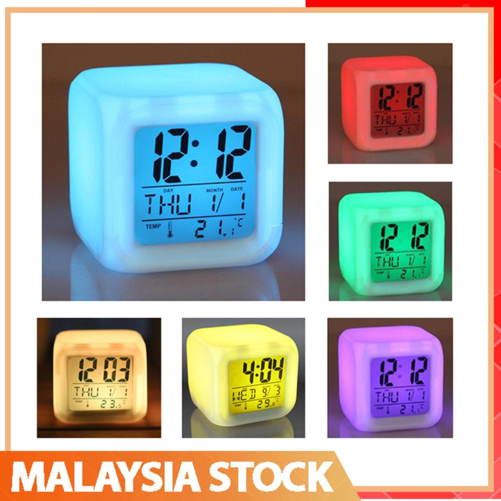 Superb LED LCD 7 Colourful Digital Alarm Clock Shining Light