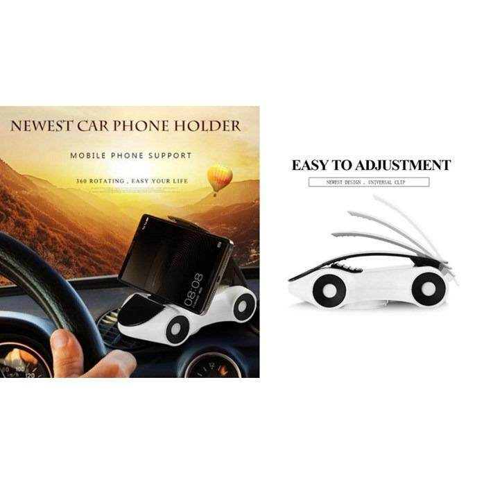 Novelty Universal Car Shape Phone Holder Bracket Stand Sticky For Mobile Phone Cellphone (White)