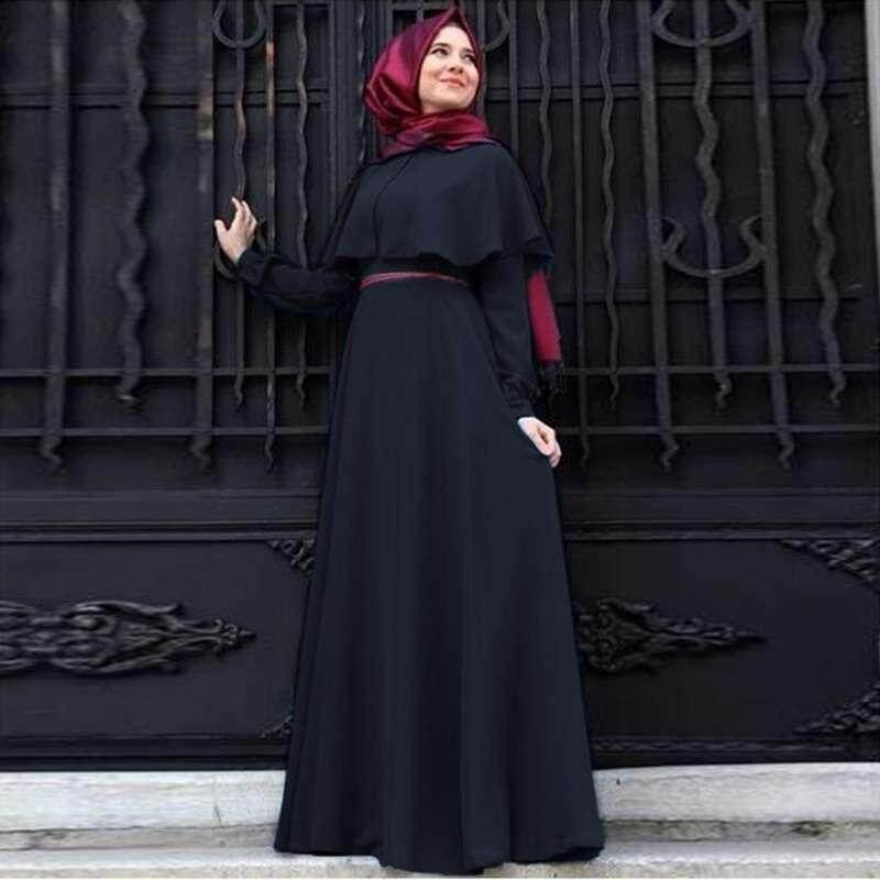 Burstore 1 Pcs Muslim Gaun Cape Sifon Plus Ukuran Wanita Retro Gaya Rakyat Jubah Lengan Panjang Gaun Pesta 6 warna-Internasional
