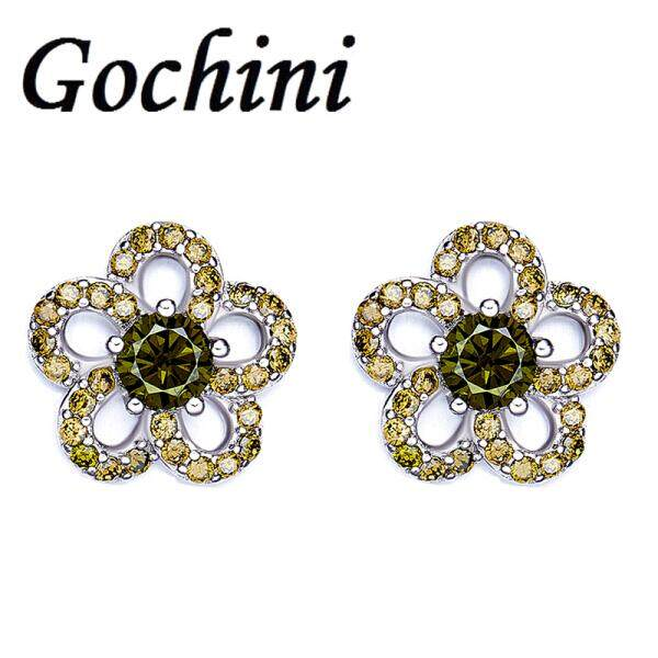 Ms. Gochini fashion plum earrings earrings earrings earrings female short paragraph Ding popular American Imitation Zircon Crystal personality fashion accessories jewelry gift glory(Dark green ) - intl