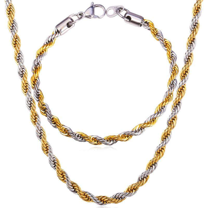 U7 Gold Berlapis Tali Rantai Kalung Gelang Set untuk Pria 2-Suara Pria Perhiasan Set Bengkok Singapura Anti Karat rantai