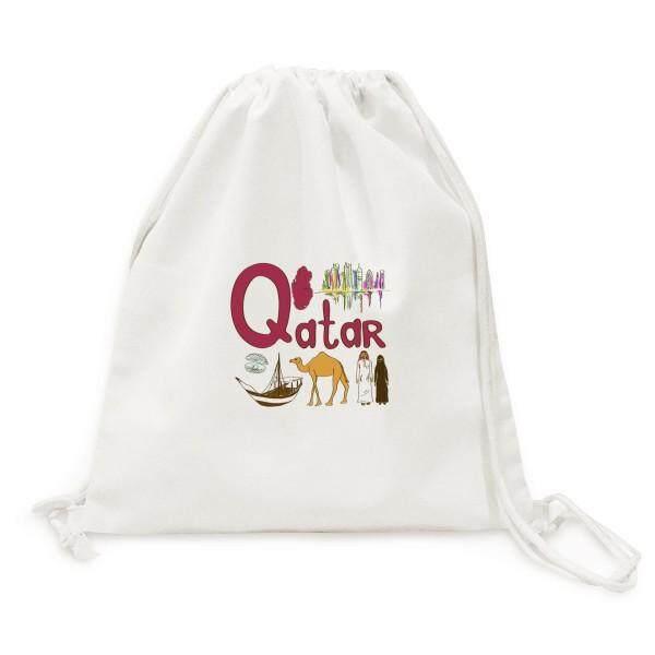 Qatar National Symbol Landmark Pattern Canvas Drawstring Backpack Shopping Travel Lightweight Basic Bag Gift By Offbb.