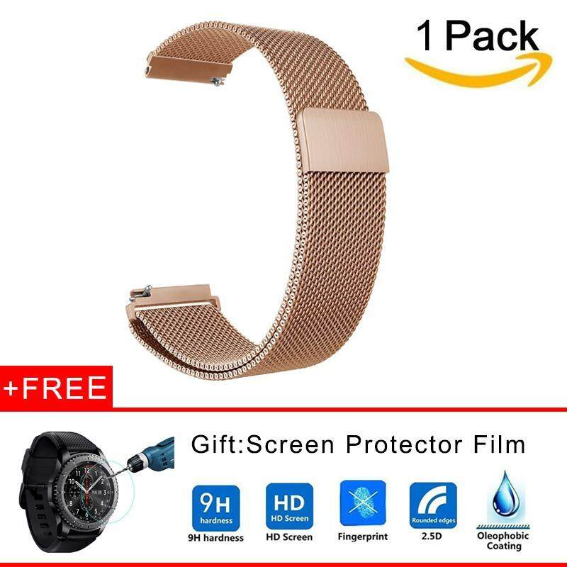 22mm Milanese Loop Adjustable Stainless Steel Replacement Strap Bands + Tempered Glass for Samsung Gear S3