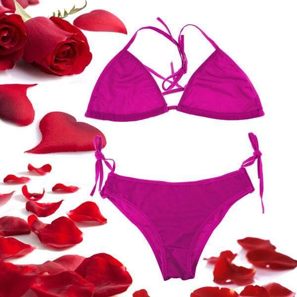 360WISH Adjustable Nylon Sexy Halter Type Bikini Swimsuit - Purple